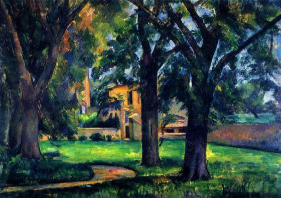 Cezanne, Paul: Chestnut Trees and Farm At Jas De Bouffan. Landscape Fine Art Print/Poster. Sizes: A4/A3/A2/A1 (001021)